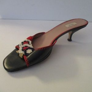 Chic! Open Toe Slides Red Stitch Crochet Rosettes